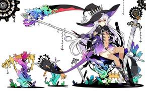 boots, long hair, white hair, scythe, panties, anime girls