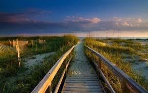 sea, clouds, sunrise, grass, sand, coast