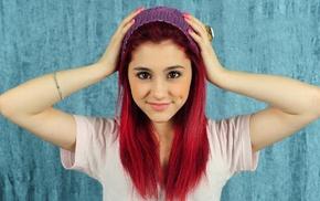 redhead, girl, Ariana Grande, hands on head, woolly hat