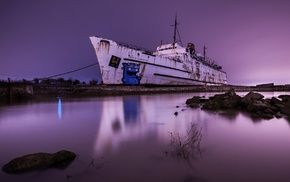 blurred, shipwreck, rust, boat, night, ship