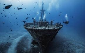 silhouette, ship, divers, sea, bubbles, water