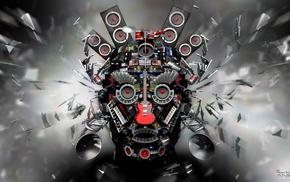 music, guitar, explosion, microphones, CGI, eyes