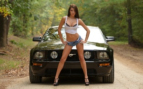 brunette, trees, road, Ford Mustang, girl, nature