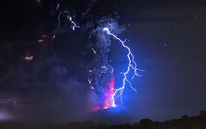 nature, volcano, lightning