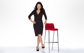 simple background, high heels, chair, brunette, Julia, Louis Dreyfus