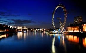 London Eye, River Thames, cityscape, UK, river, reflection