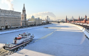 ice, Moscow, river, snow, building, architecture
