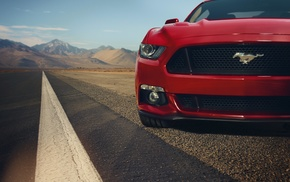 car, muscle cars, Ford, Ford Mustang, landscape, red
