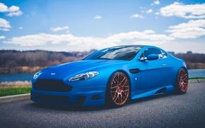 blue cars, Aston Martin, car