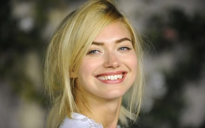 looking at viewer, girl, blonde, portrait, smiling, Imogen Poots
