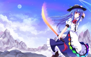 katana, blue hair, anime girls, Touhou, red eyes, Hinanawi Tenshi