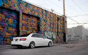 car, Mercedes, Benz E, Class, graffiti, Benz