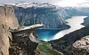 landscape, canyon, mountain, sea, cliff, Norway