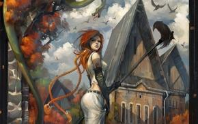 snake, redhead, girl, artwork, fantasy art, crow