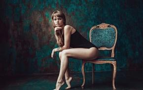 Anastasia Scheglova, chair, sitting, feet, girl, legs