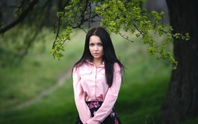 photography, trees, looking at viewer, Angelina Petrova, nature, Denis Petrov