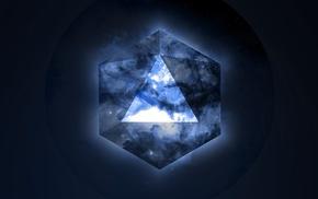 blue, space, geometry, stars, triangle, Illuminati