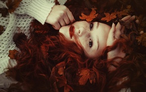 face, sweater, freckles, leaves, girl, red lipstick