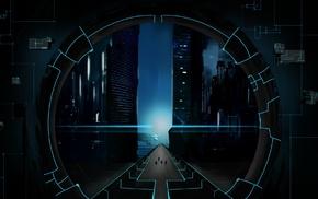 digital art, road, lines, science fiction, circle, futuristic
