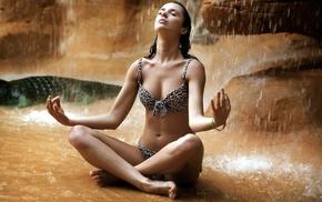 rock, sitting, girl outdoors, brunette, nature, swimwear