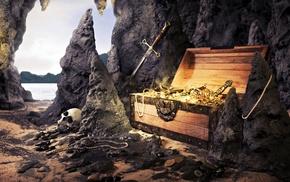 gold, sword, skull, treasure