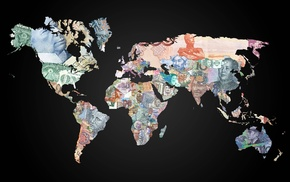 dollars, money, map, world, euros