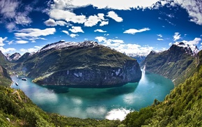 blue, clouds, landscape, Norway, green, Geiranger