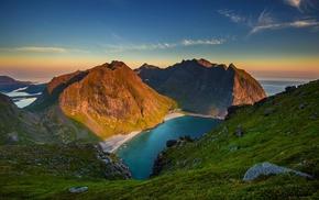 summer, nature, mountain, sea, grass, sunset