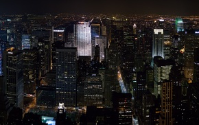 city, skyscraper, lights, night, building, colorful