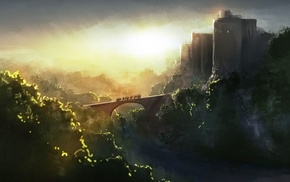 artwork, fantasy art, bridge, painting, castle, sunlight