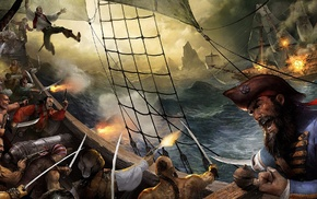 ship, pirates, fantasy art, artwork, war