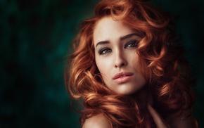 model, curly hair, girl, Georgiy Chernyadyev, portrait, green eyes