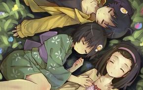 anime girls, Sengoku Nadeko, grass, kimono, Araragi Tsukihi, Monogatari Series