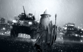monochrome, Battlefield 4, video games, Gandalf, Battlefield
