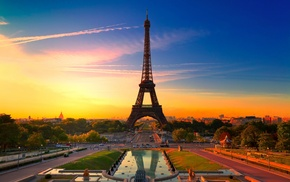 sunset, France, landscape, architecture, city, HDR