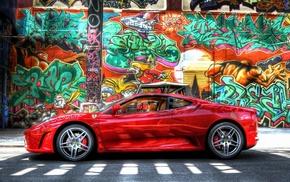 Ferrari F430 Scuderia, Ferrari F430, car, colorful, graffiti, Ferrari