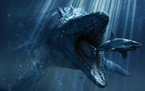 digital art, crocodiles, sea, underwater, teeth, Jurassic World