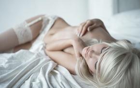long hair, in bed, stockings, panties, closed eyes, depth of field