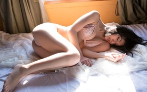 lingerie, sunlight, sleeping, ass, lying down, barefoot