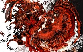 twintails, frills, Touhou, red eyes, Onozuka Komachi, redhead