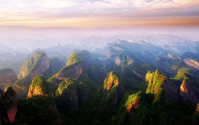 cliff, nature, China, mist, clouds, forest