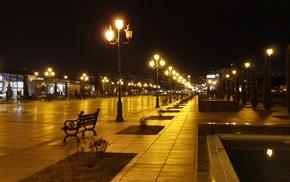 bench, night, lights, cityscape