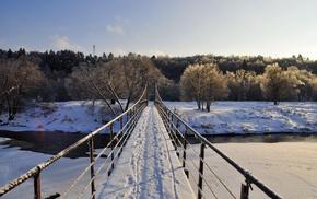 bridge, path, river, landscape, nature, trees