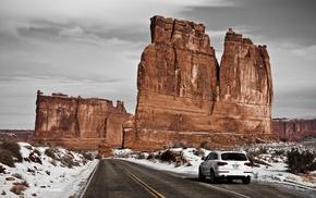 car, landscape, road, Audi, nature