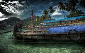 clouds, island, boat, HDR, palm trees
