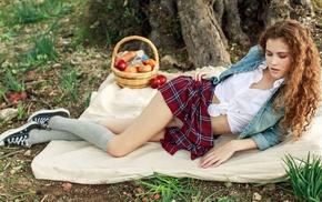 plaid, upskirt, curly hair, girl outdoors, redhead, Heidi