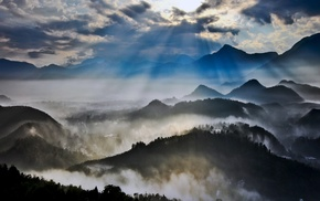 valley, clouds, mountain, sun rays, mist, nature