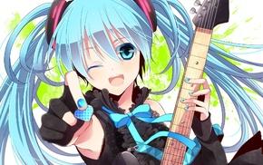 guitar, anime girls, Hatsune Miku, anime, Vocaloid