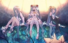anime girls, twintails, long hair, thigh, highs, Hatsune Miku