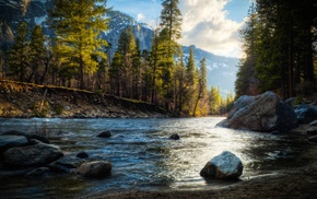 nature, mountain, HDR, landscape, river, trees